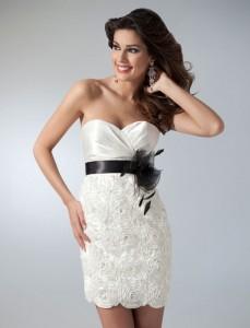 White and black short prom dress